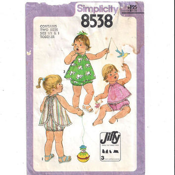 Simplicity 8538 Pattern for Toddlers' Sundress, Top, Panties, From 1978, Size 1/2 & 1, Vintage Pattern, Home Sewing, 1978 Child Fashion Sew