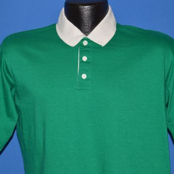 80s Gant The Rugger Green And White Polo Shirt Large