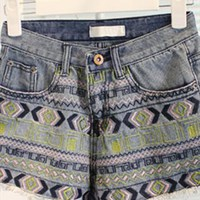 Embroidery Ripeed Denim Shorts from SarahHunt