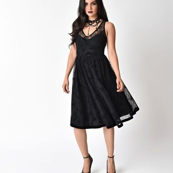 Hell Bunny 1950s Black & Velvet Amarande Spooky Swing Dress