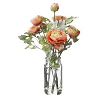 Threshold™ Faux Ranunculus in Glass Vase - Orange 12""