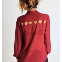 Tiny Hearts Cut Out Blouse - Wine