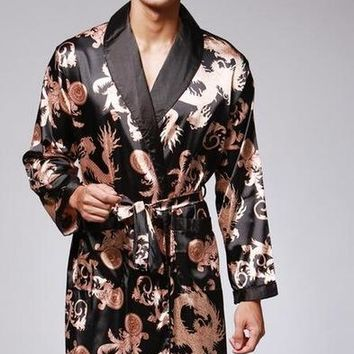 Mens Robe Silk Satin Pajamas Sleepwear Robes Bathrobe Nightgown  peignoir sexy pour hommes dragon embroidered kimono erkek