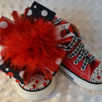 ESB91W Red polka dot ladybug BLING PRINCESS Converse - baby/toddler/girl shoes
