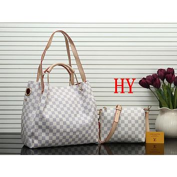 Louis Vuitton LV Women Shopping bag Leather Satchel Handbag Crossbody Shoulder Bag Two Piece Set