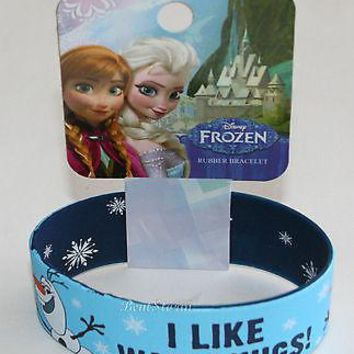 Licensed cool Disney FROZEN OLAF I LIKE WARM HUGS SNOWMAN REVERSIBLE Rubber Bracelet Wristband