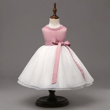 Sleeveless Pink and White Dress with Pearl Collar