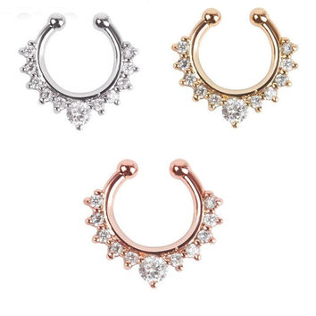 1Pc Fake Septum Clicker Nose Ring Non Piercing Hanger Clip On Jewelry (With Thanksgiving&Christmas Gift Box)= 1946534788