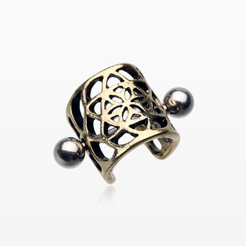 Vintage Golden Flower of Life Cartilage Ear Cuff