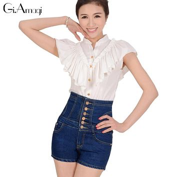 Summer Women Jeans Shorts Slim High Waist Single-breasted Button Pockets Short Pants Casual Slim Waisted Female Denim Shorts