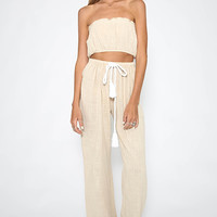 Toby Heart Ginger - Crepe Long Pant Set - Beige