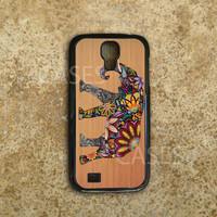 Galaxy S4 Case - Custom Samsung Galaxy S4 Cover - Cute Colorful Elephant on Wood - Top Accessories for Samsung S4 - Hard Protective Case