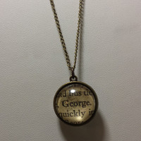"Of Mice and Men ""George and Lennie"" Double Sided charm neckalce made using Actual Book Pages"