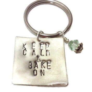 Keep Calm and Bake On Keychain with Swarovski Crystal - Gift for Bakers, Chefs, and Cupcake Lovers!