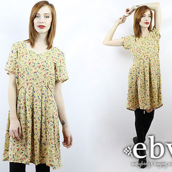 Vintage 90s Floral Babydoll Dress M L 90s Grunge Dress 90s Floral Dress Floral Mini Dress Yellow Floral Dress Day Dress
