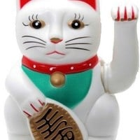 """[ Fly Eagle ] Chinese Feng Shui  White Waving Fortune/ Lucky Cat 6""""H Best Gift For Good Luck"""