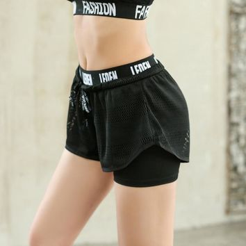 Sports Fitness Shorts Women'S Yoga Breathable Quick Dry Fitness Running Short Pants Double Layer Jogging Gym  Workout Clothes