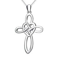 "SHIP BY USPS YFN ""Infinity Love""Jewelry 925 Sterling Silver Platinum Polished Eternal Celtic Knot Cross Pendant Necklace"