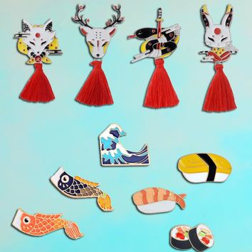 Japan culture Fox rabbit mask pin Squid flag Japanese food sushi brooch Marine country wave for friend souvenir Gift