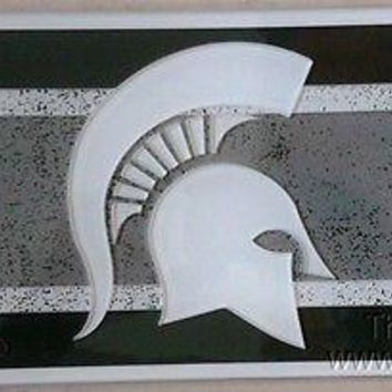 Michigan State Spartans VINTAGE Style Deluxe Laser License Plate Tag University