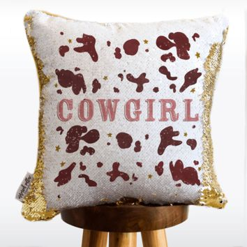 Cowgirl Mermaid Pillow with White & Gold Reversible Flip Sequins