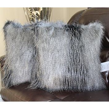 Llama Fur Ivory Grey Faux Fur 18 X 18 In. Throw Pillow - Set of 2