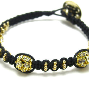 Black and gold jewelry macrame bracelet by AlexisLjewelry on Etsy