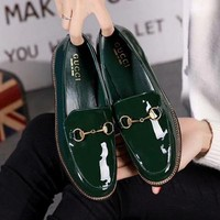 GUCCI Women Fashion Leather Low-heeled Shoes