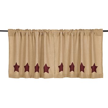 Burlap with Burgundy Stars Tier Curtains 24""