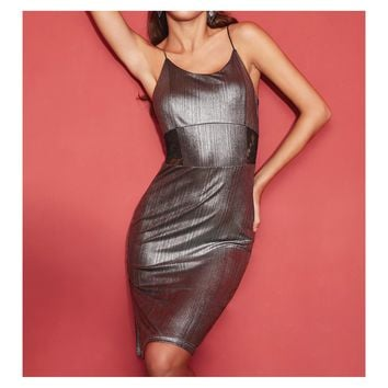 Silver Spaghetti Straps Metallic Dress with Lace Details