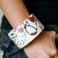 Wooden bangle, neutral bracelet, woodland and natural history, white, grey, black, floral pattern