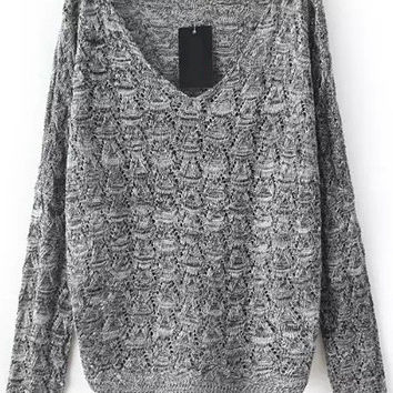 Grey V Neck Long Sleeve Cutout Sweater