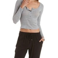 Ribbed Slub Knit Henley Top by Charlotte Russe