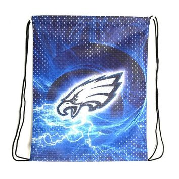 Philadelphia Eagles Drawstring Bags Mesh Polyester Fabric Men Backpack Digital Printing Pouch 35*45CM Sports Fan Flag