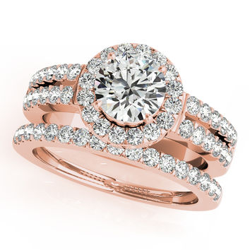 Engagement Ring -Halo Split Band Engagement Ring and Matching Band in Rose Gold-ES1559RG