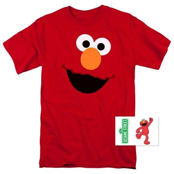 2017 Fashion casual streetwear Sesame Street Elmo Face T Shirt & Exclusive Stickers Brand Clothing Men t shirt