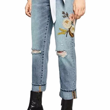 Marissa Distressed Floral Embroidered Straight Leg Jeans