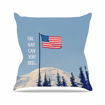 "Robin Dickinson ""Oh Say Can You See"" Blue Flag Typography Throw Pillow"