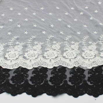 YACKALASI Cotton Embroidered Lace Fabrics Sewing Floral Applique Lace 3D Butterfly Stars Flower Diy Apparel Trims Scalloped 43CM