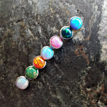 6mm OPAL Stone (1 Single) Dermal Head Anchor Microdermal 14g (1.6mm) Gauge Body Jewelry