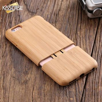 KISSCASE Natural Real Wood Bamboo Case For iPhone 6 Plus 6s Plus Retro Original Hybrid Wood Bamboo Cases For iPhone 6 6s Plus