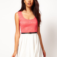 Paprika Sleeveless Lace Top Skater Dress at asos.com