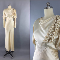 Vintage 1930s Wedding Dress / 30s Bias Cut Dress / 1930 Art Deco / Ivory Champagne Silk Satin Gown