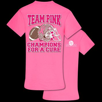 Southern Couture Preppy Team Pink Football Cure Cancer T-Shirt