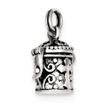 Antiqued Cross Prayer Box Charm in Sterling Silver