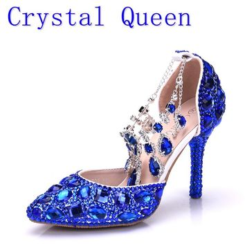 Crystal Queen Women Blue Rhinestone Crystal Wedding Shoes Gradua 4c2d180025ef