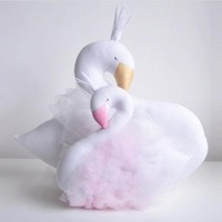 30cm Novelty Soft Pink Lace Crown Swan Plush Toy Cushion&Pillow Home Decoration Pillow Baby Appease Doll Kids Toys Girls Gift