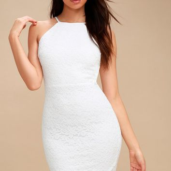 Magic of Love White Lace Bodycon Dress