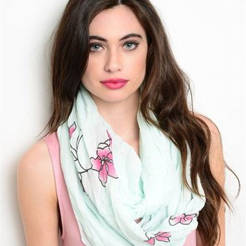 Mint and Floral Print Infinity Scarf