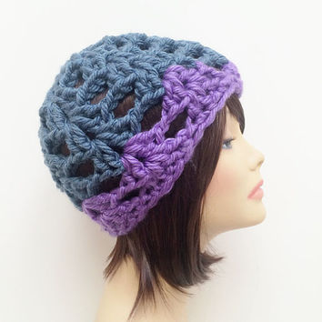 FREE SHIPPING - Crochet Chunky Beanie Hat - Blue & Purple